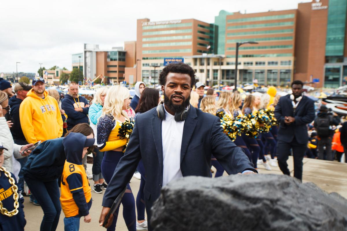 West Virginia defensive back Josh Norwood participates in the Mountaineer Mantrip prior to taking on Iowa State at Milan Puskar Stadium on Oct. 12, 2019.