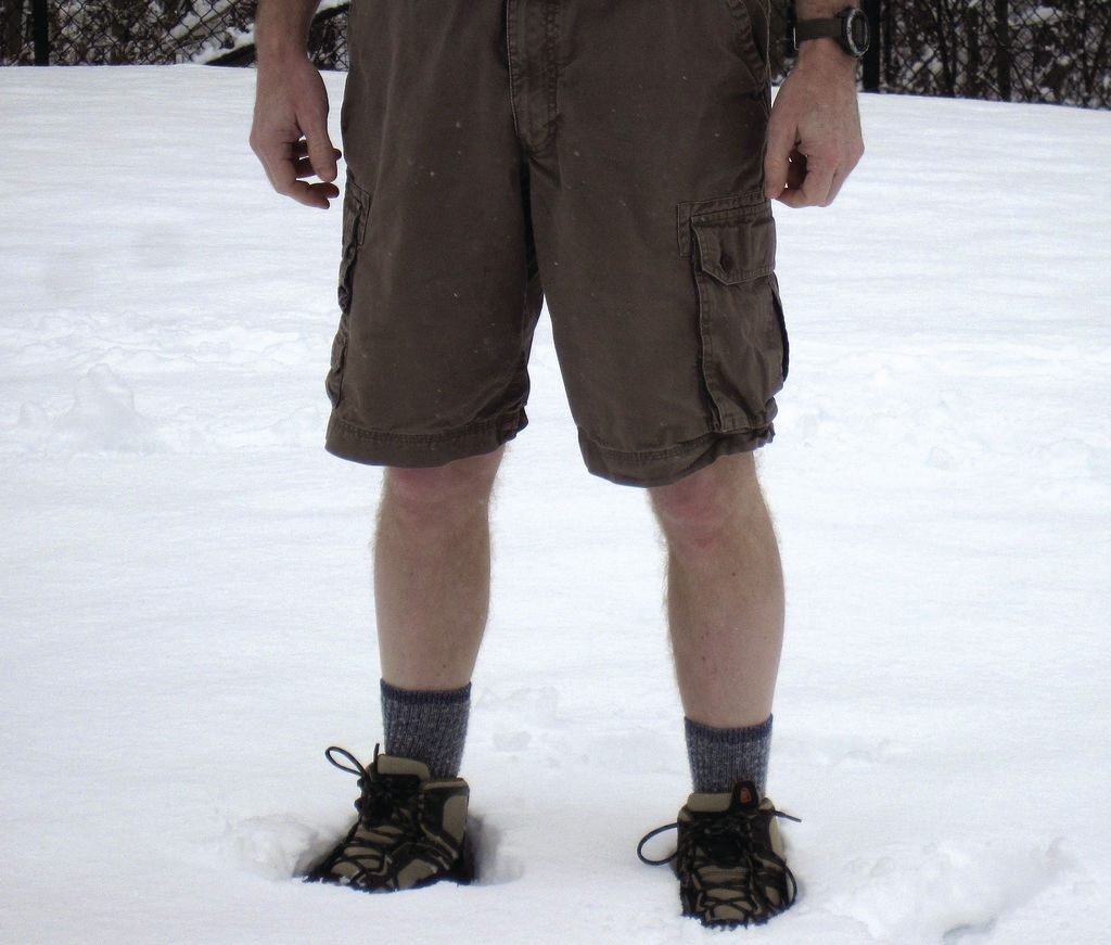 wearing shorts in the snow