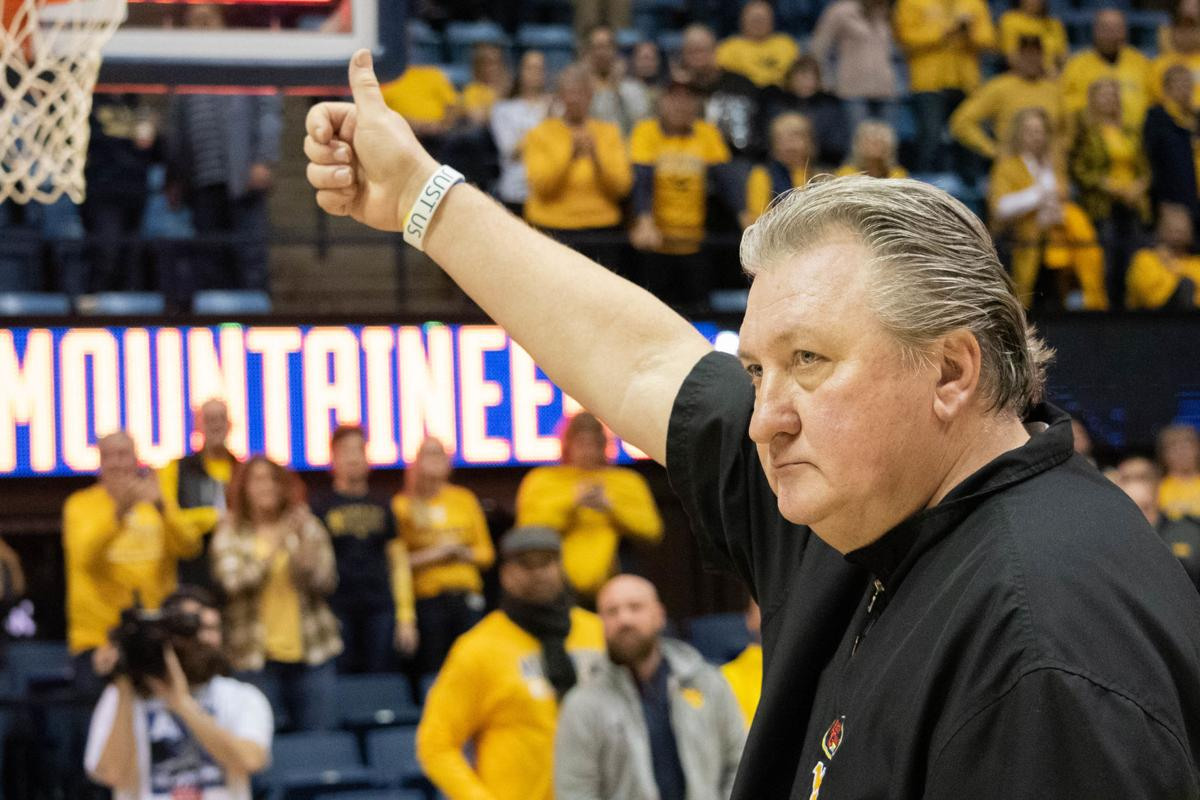 WVU Head Coach Bob Huggins walks off the court after defeating Missouri 74-51 at the WVU Coliseum on January 25, 2020.