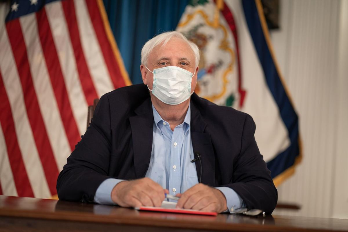 West Virginia Gov. Jim Justice wears a mask during a press briefing on July 6.