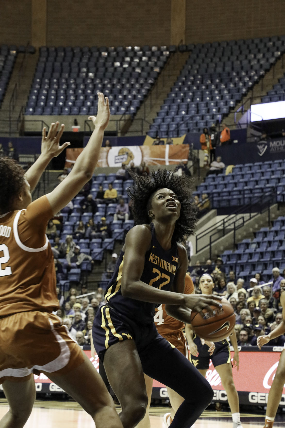 West Virginia forwards Blessing Ejiofor sets up a shot against Texas at the WVU Coliseum on Jan. 12, 2020.