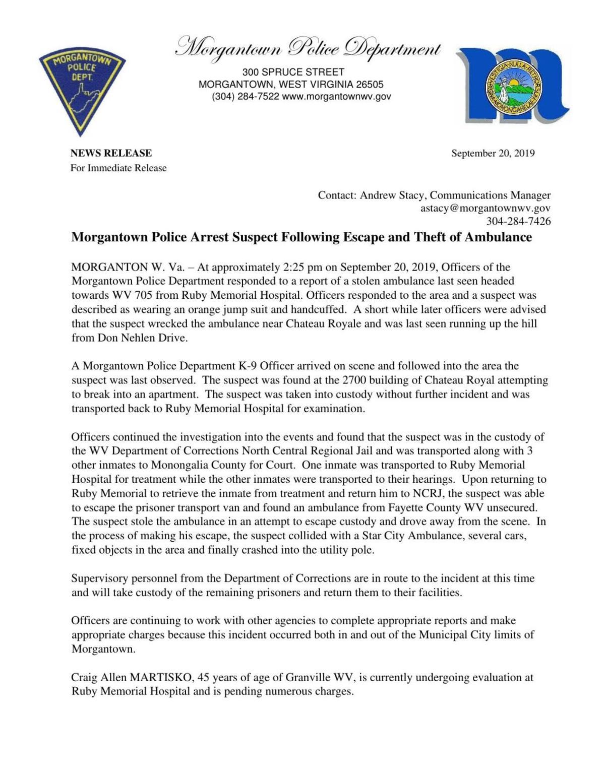Morgantown News Release Sept. 20