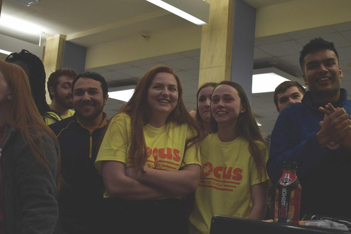 Members of the Focus ticket anxiously await election results Wednesday evening.