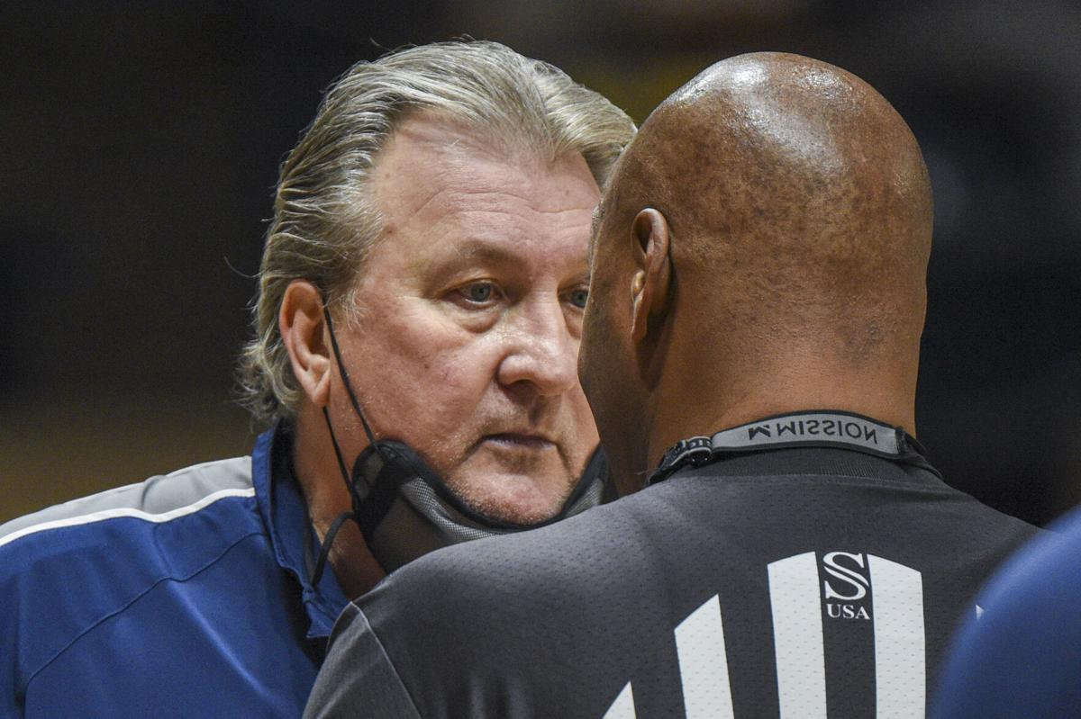 WVU head coach Bob Huggins addresses a referee during West Virginia's game against Texas at WVU coliseum in Morgantown W.Va., Jan. 9 2021