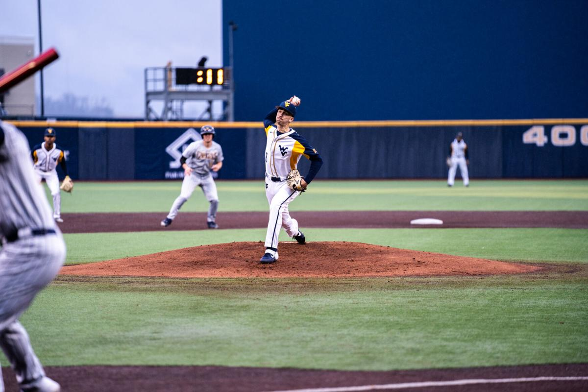 West Virginia pitcher Skylar Gonzalez pitches against Canisius during the 2019-20 season for the Mountaineers.