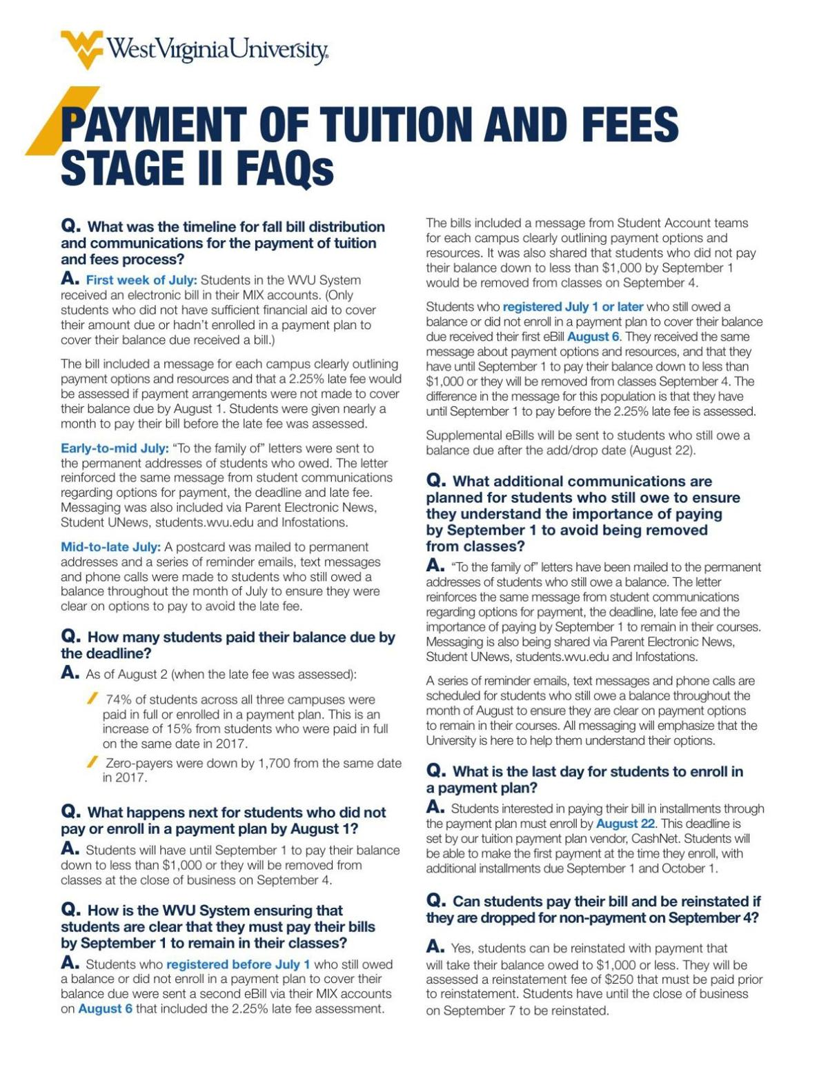 PAYMENT OF TUITION AND FEES STAGE II FAQs | | thedaonline com