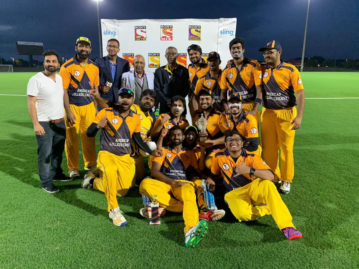 The cricket club team after they won the American College Cricket national championship.
