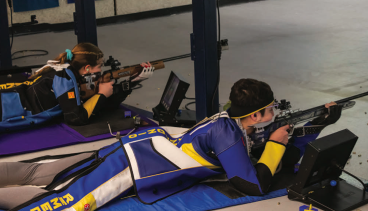 Saturday morning: Members of the WVU rifle team combined to shoot 4719, placing them ahead of Akron and NC State on Nov. 18, 2019.