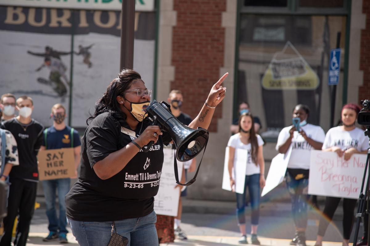 West Virginia House Delegate Danielle Walker talking to protestors in Morgantown on Saturday.