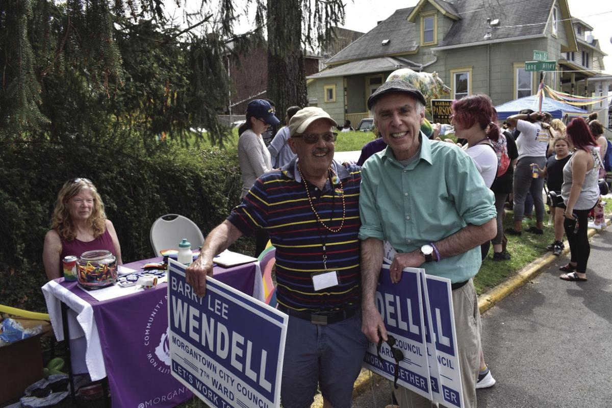Rabbi Joe Hample and Seventh Ward Councilor Barry Wendell campaigning for Wendell's reelection at the Morgantown Pride block party last Saturday.