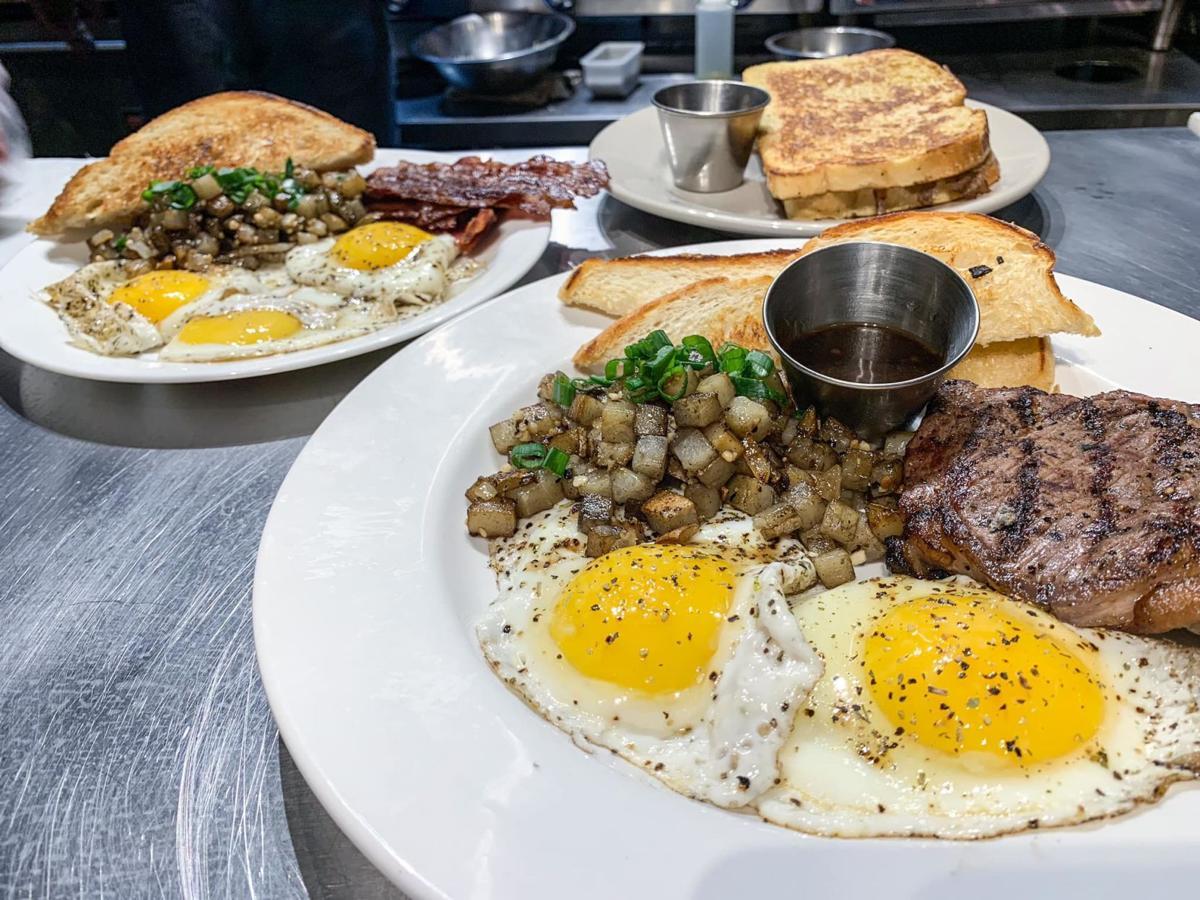 Steak and eggs, a breakfast classic menu item.