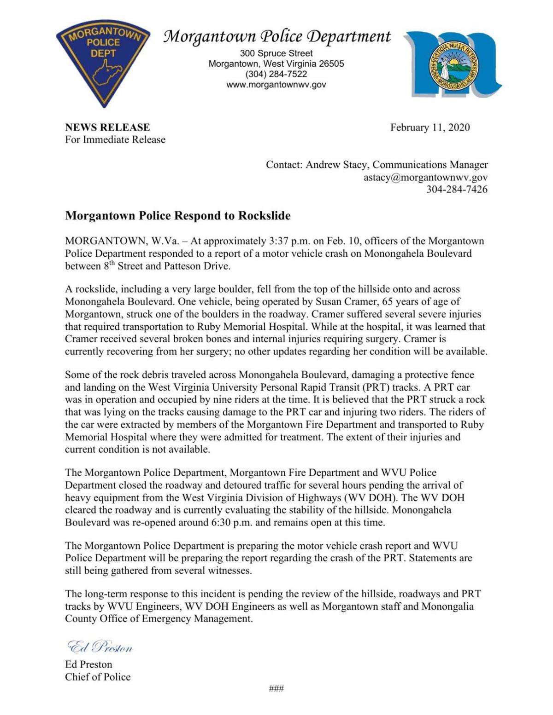 Morgantown press release on rock slide
