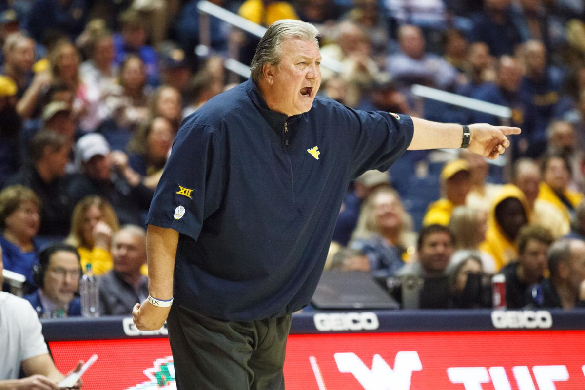 West Virginia head coach Bob Huggins yells during West Virginia's game against Nicholls on Dec. 14, 2019 at the WVU Coliseum.