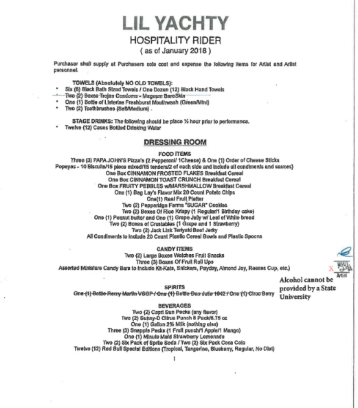 Lil Yachty hospitality rider
