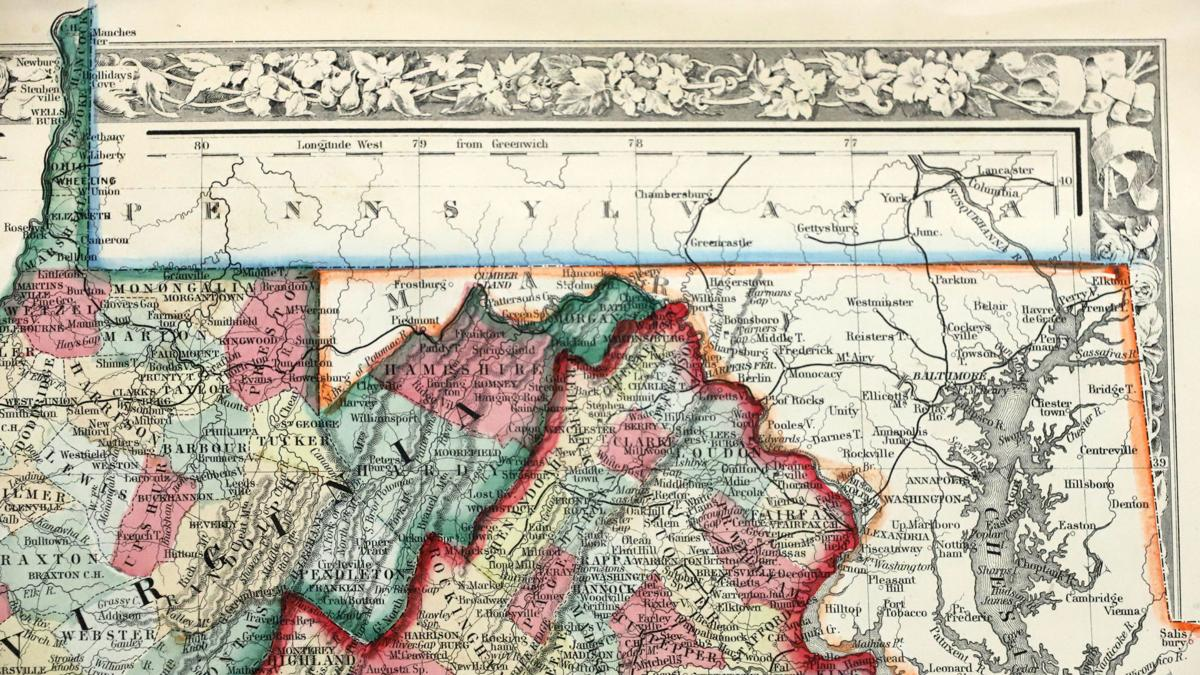 Close up of 1863 West Virginia Map
