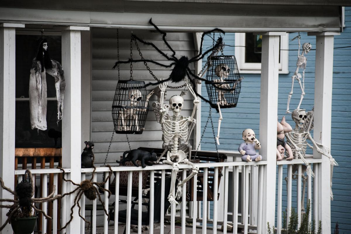 Halloween Skeletons on a front porch in Morgantown