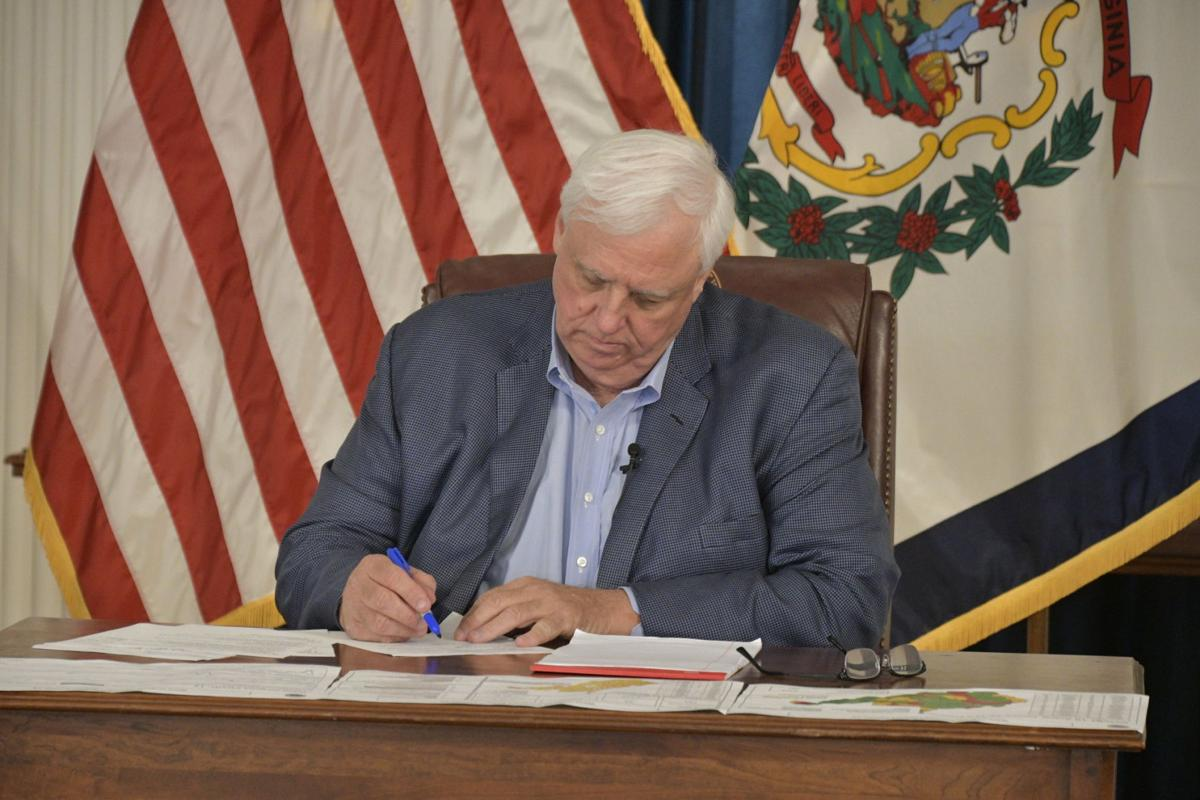 West Virginia Gov. Jim Justice pictured during his press conference on July 2.