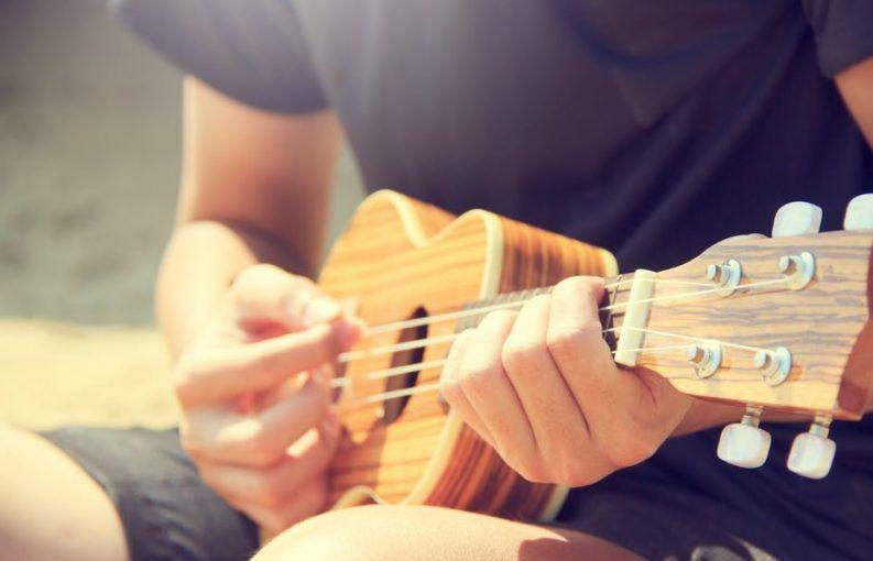 playing the ukulele