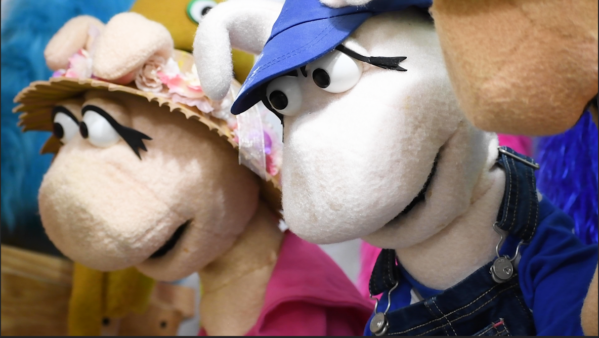Puppets created by students in the WVU Creative Arts Center.
