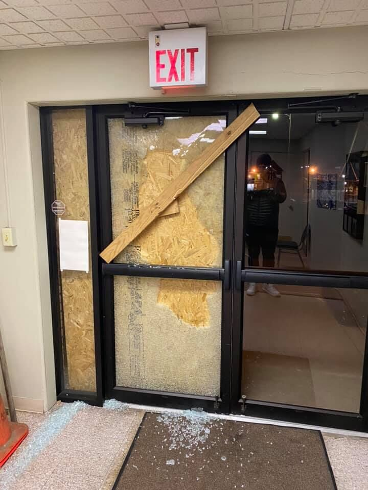 Glass was smashed on doors at the First Presbyterian Church of Morgantown on Jan. 22.