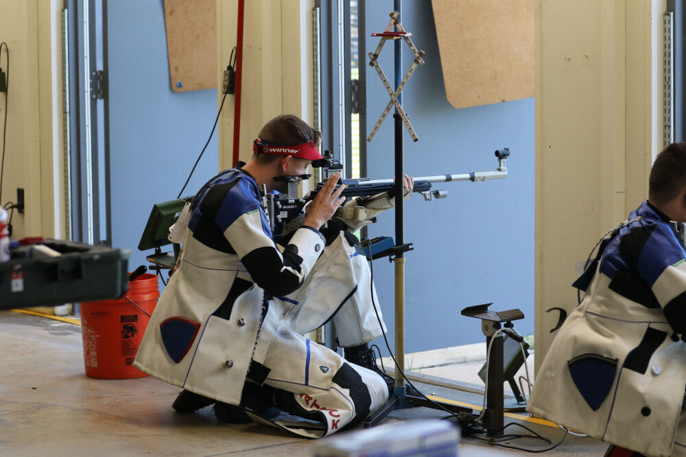 US Army Sergeant Patrick Sunderman aims down range during Olympic Trials in Fort Benning, Georgia, on May 26, 2021.