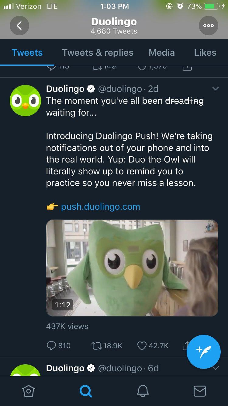 Duolingo joked about introducing Duolingo Push.