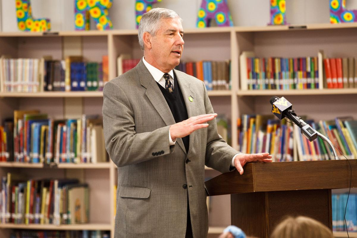 Bob Bowlsby, Big 12 Commissioner, speaks at the unveiling of a library makeover by the College Football Playoff Foundation and the Big 12 Conference at Mountain View Elementary School in Morgantown, WV on Feb. 24, 2020.
