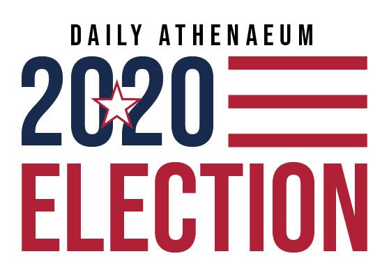 The Daily Athenaeum's 2020 Election coverage logo. Loosely resembling an American flag, a blue 2020 sits in the top left with three red stripes to the right. Underneath, the word election is in red, and spans the length of the image.