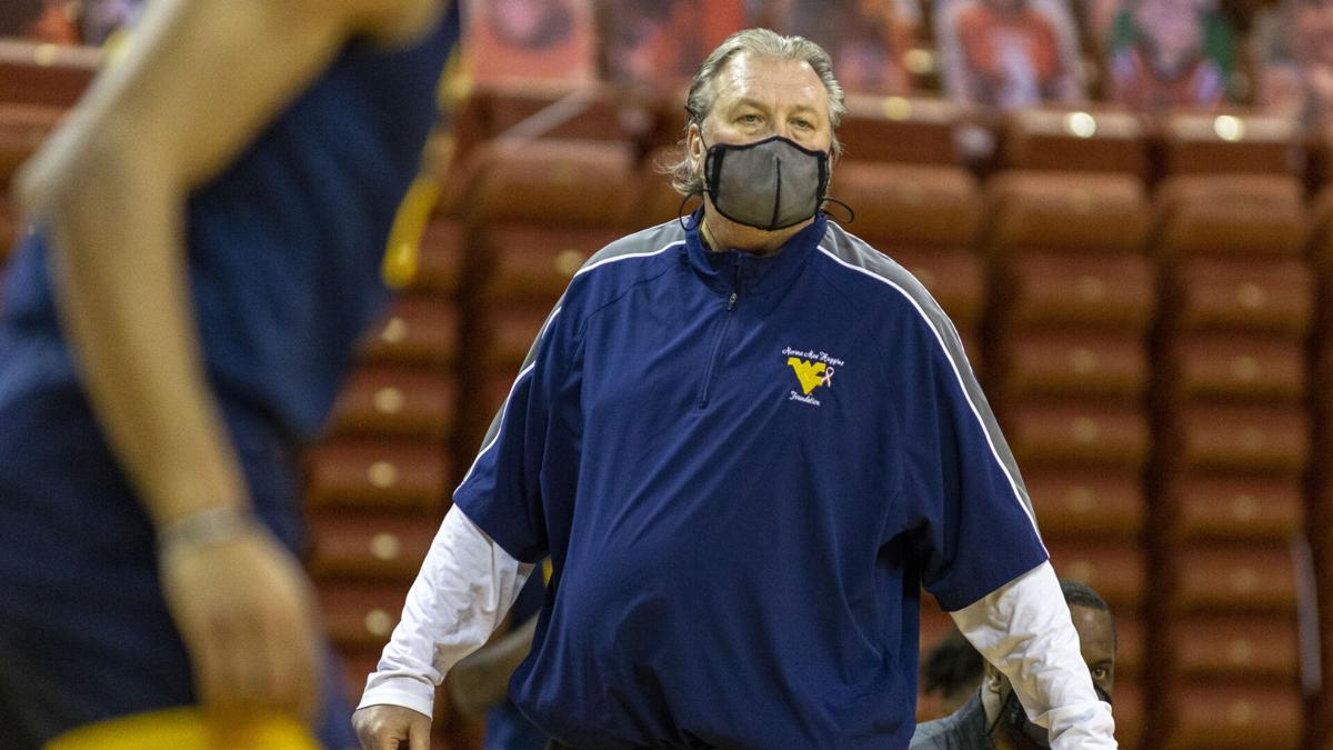 West Virginia head coach Bob Huggins looks on during WVU's game against Texas in Austin, Texas, on Feb. 20, 2021.
