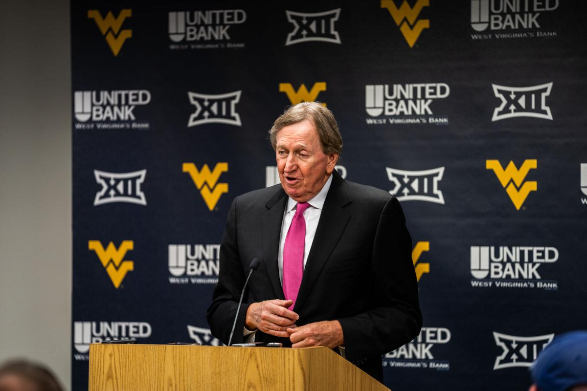 Rod Thorn speaks during a press conference prior to having his No. 44 jersey retired on Feb. 29, 2020 at the WVU Coliseum.