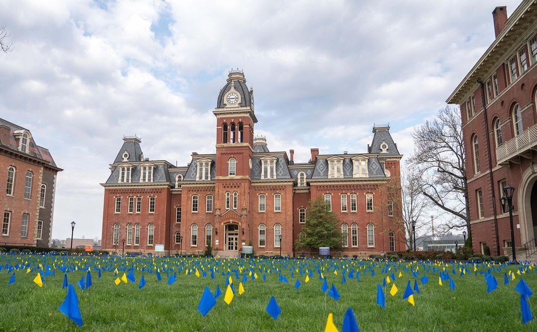 Flags in front of woodburn