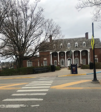 The crosswalk where WELLWVU's sex positivity sign once lived.