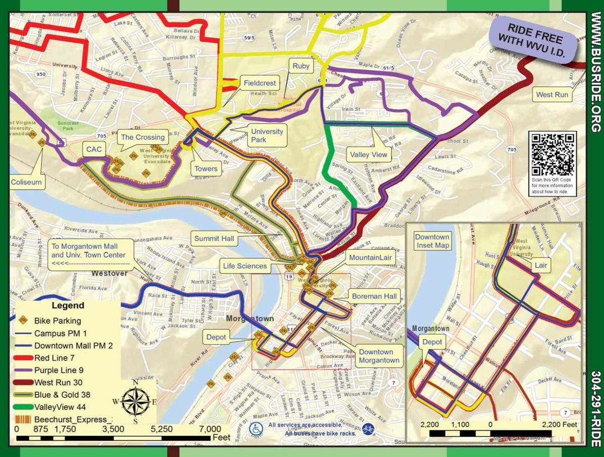 WVU Mountain Line Map