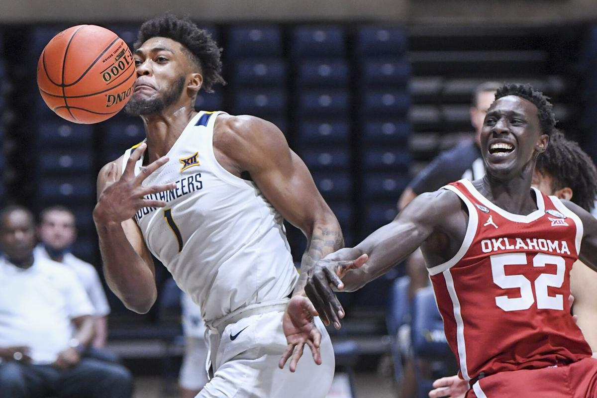 West Virginia forward Derek Culver (1) loses the ball against the Oklahoma Sooners at the WVU Coliseum on Feb. 13, 2021.