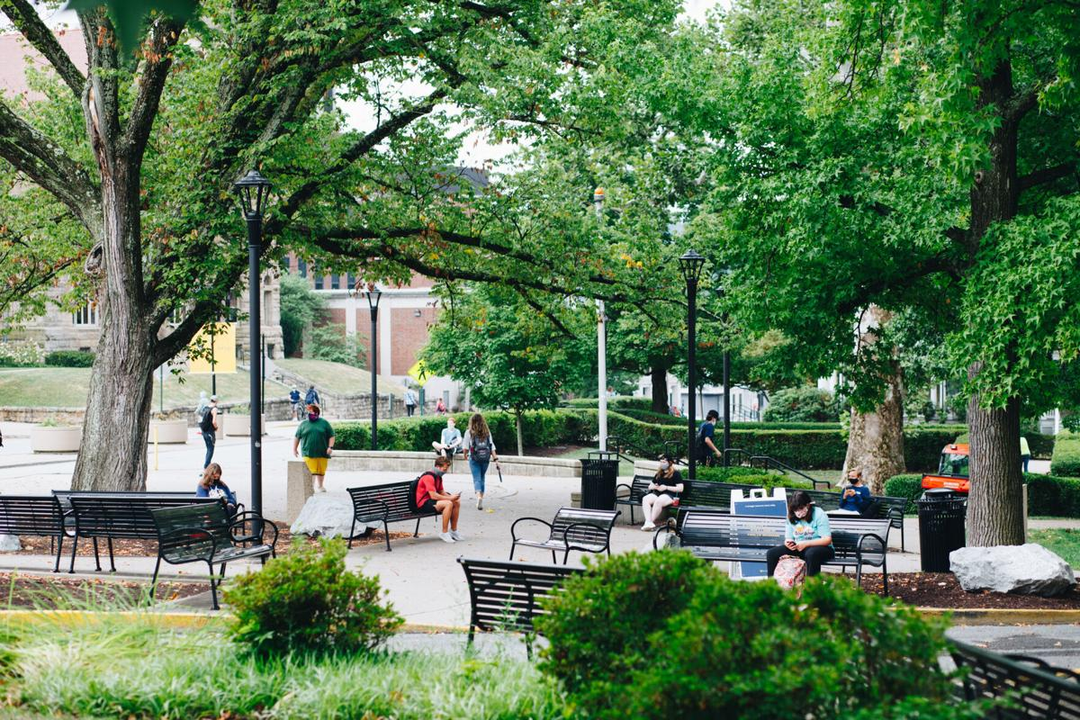 Students sit and wait for class in front the Mountainlair on August 26, 2020.