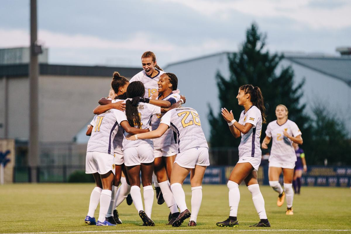 Forward Nicole Payne celebrates after scoring a goal against Kansas State on September 18, 2020 at Dick Dlesk Stadium.