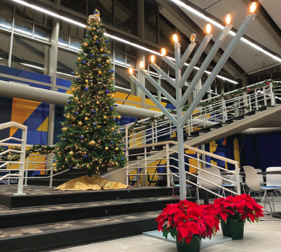 The Mountainlair displays a Menorah and a Christmas tree in celebration of the holidays.