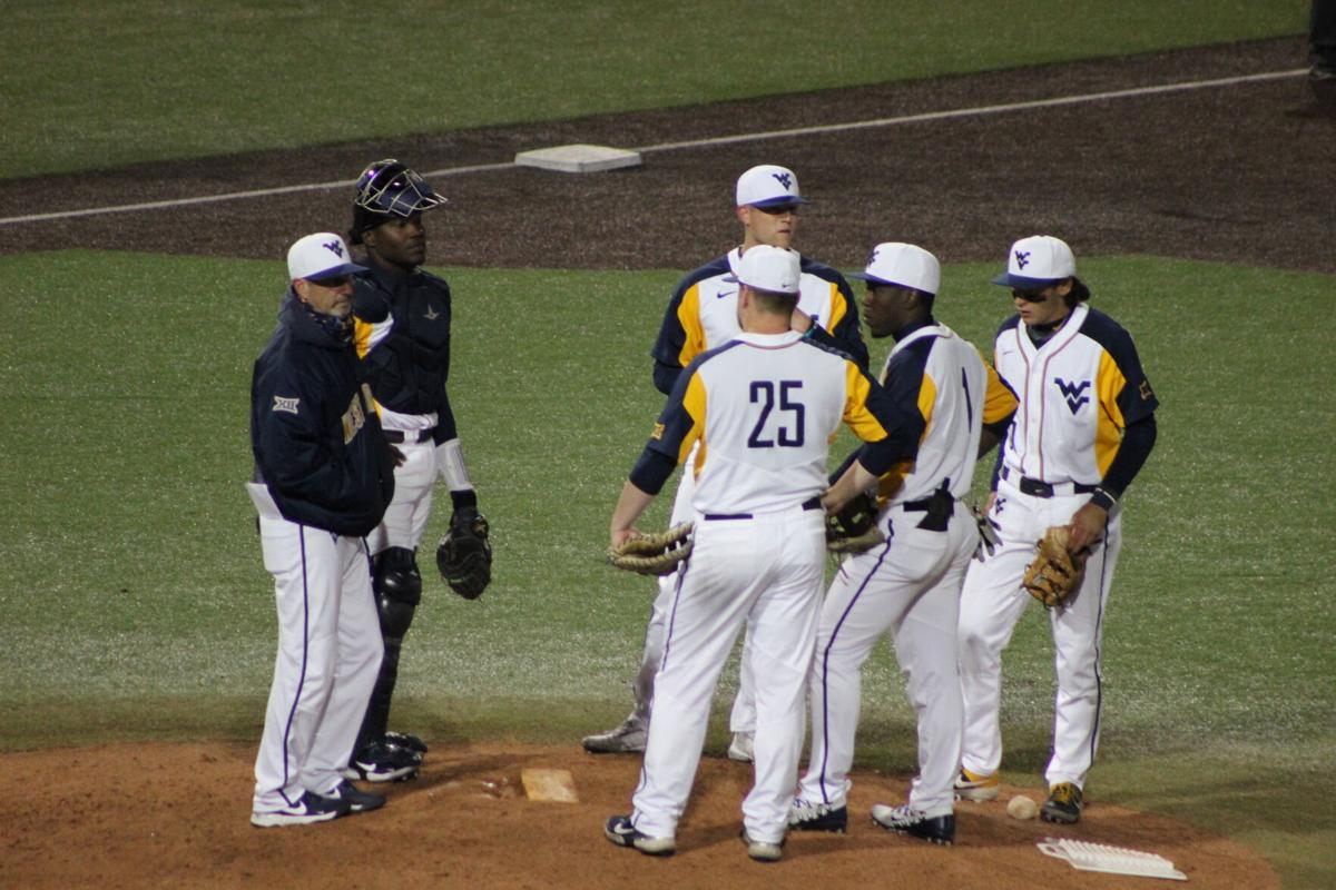 West Virginia holds a mound meeting during a loss to Texas Tech on April 16 2021 at the Monongalia County Ballpark in Morgantown, W.Va.