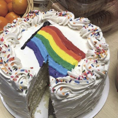 A LGBTQ-friendly cake at the PFLAG meeting.