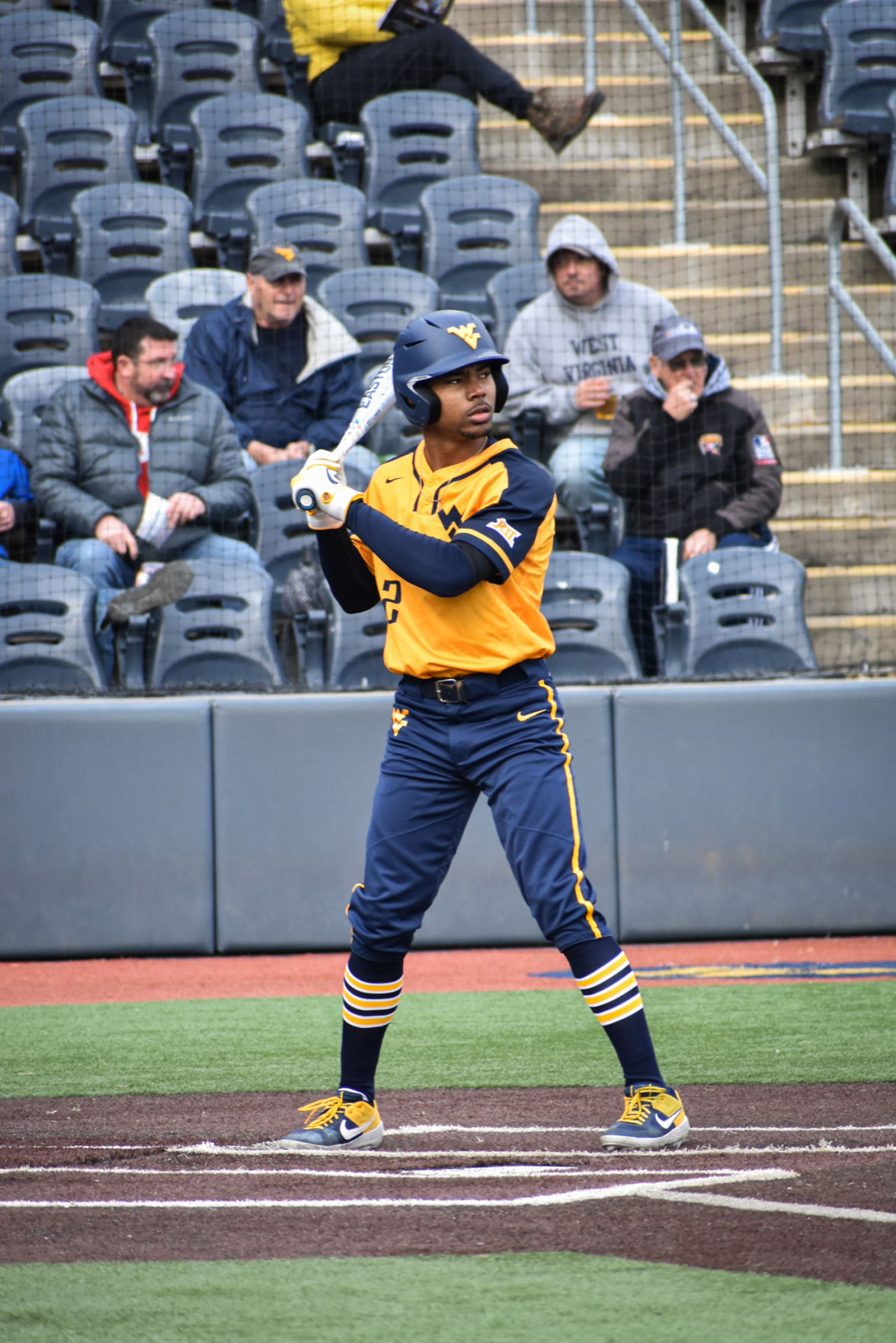Mar. 11, 2020 - Sophomore Tevin Tucker prepares for his at bat against Liberty at Monongalia County Ballpark