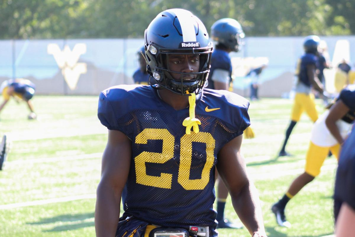 West Virginia running back Alec Sinkfield during fall practice.