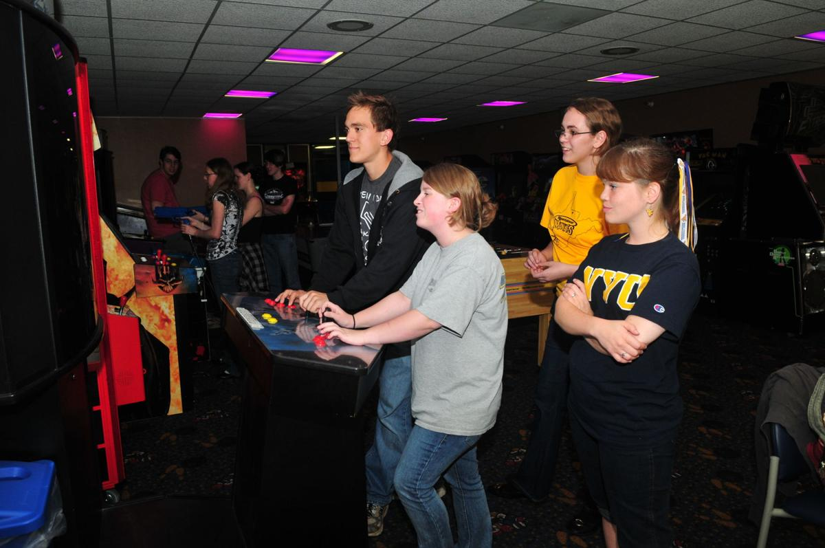 Students line up to play one of the video games in what was the Mountainlair video arcade.