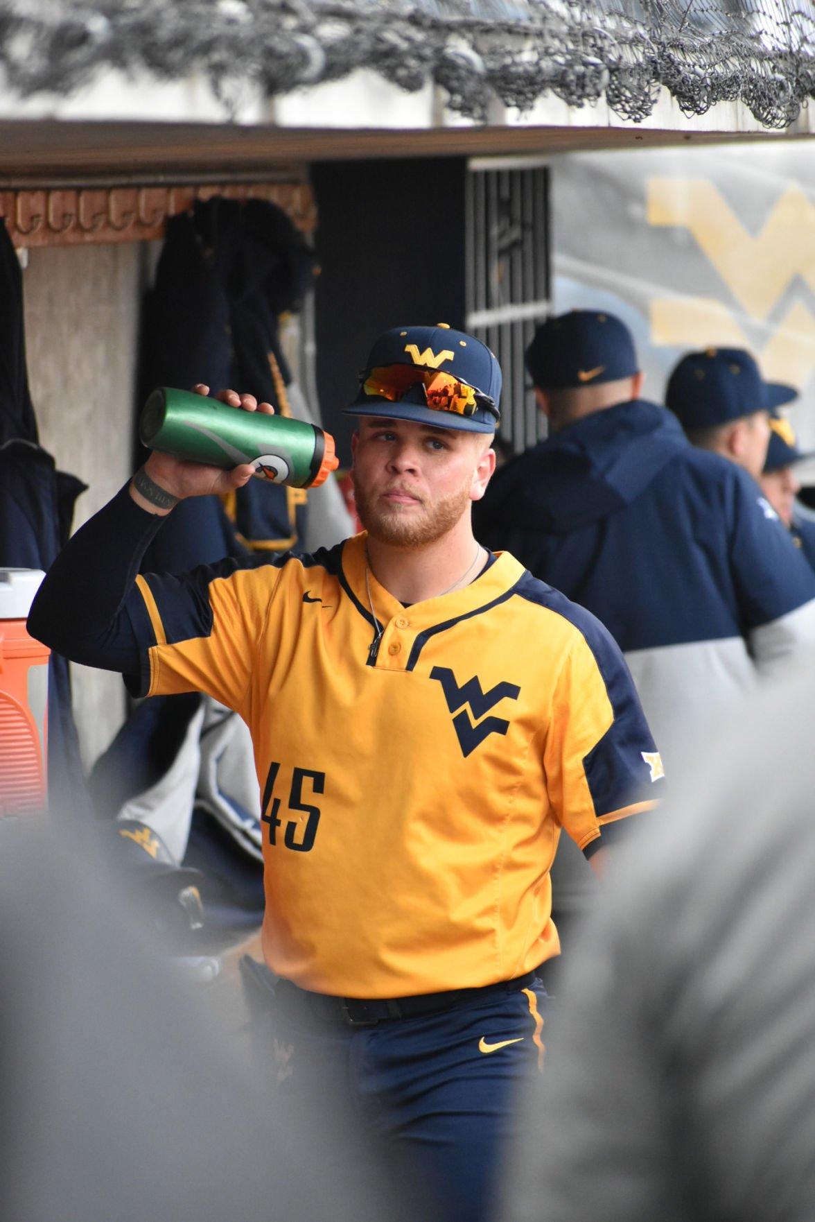 Mar. 11, 2020 - Redshirt Sophomore Vince Ippoliti takes a water break when playing Liberty at Monongalia County Ballpark