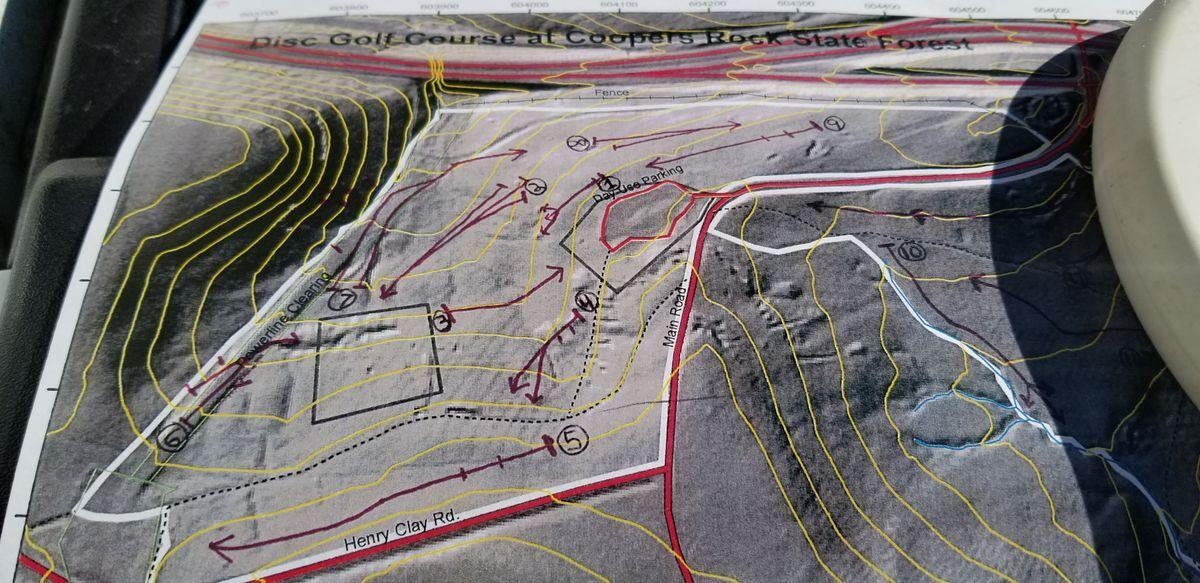 A design of the Coopers Rock disc golf course