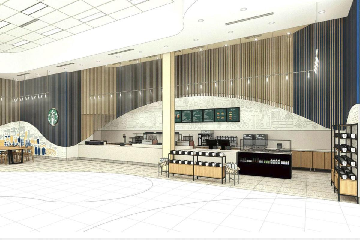 A rendering of The Market @UPlace featuring a Starbucks.