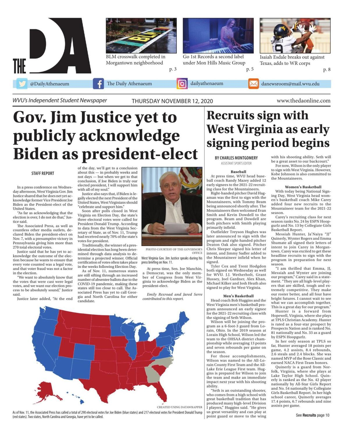 The Daily Athenaeum's edition on November 12, 2020.