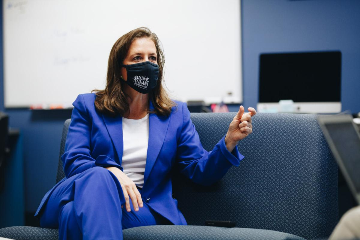 Democratic candidate for West Virginia Secretary of State Natalie Tennant speaks to the Daily Athenaeum in the newsroom on September 17, 2020.