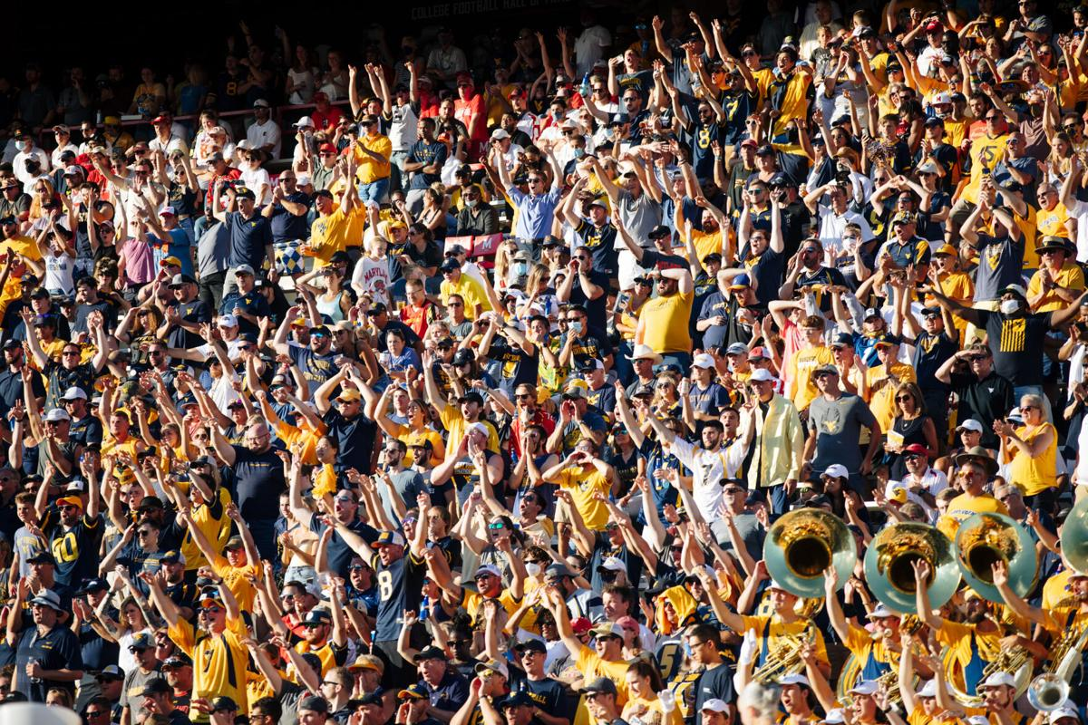 COLLEGE PARK, MD - SEPTEMBER 4: West Virginia fans cheer during the second half of the game between the West Virginia Mountaineers and the Maryland Terrapins at Capital One Field at Maryland Stadium in College Park, MD on Sept. 4, 2021.