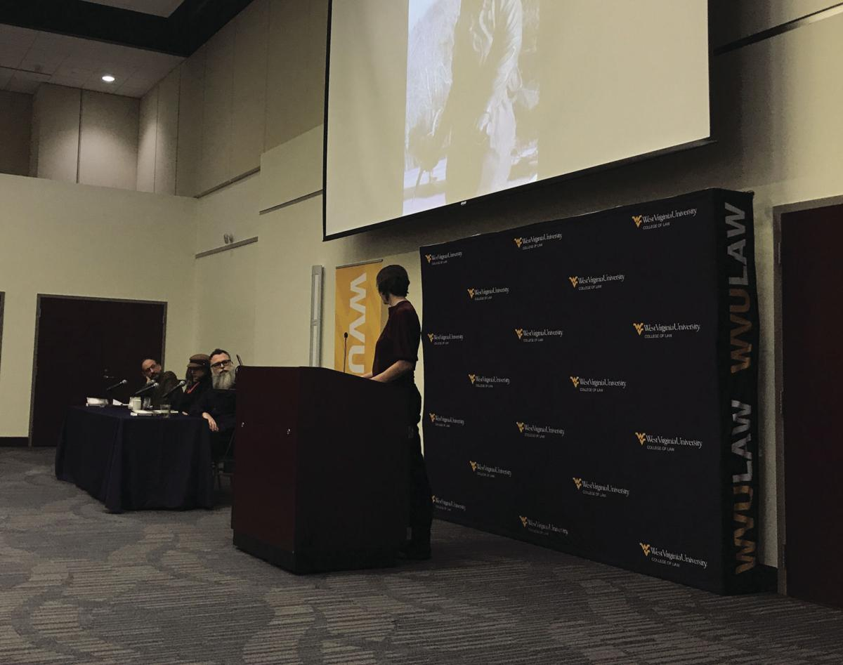 "Audra Slocum, assistant professor of English education at WVU, asks the panelists about ""Appalachian Reckoning."""