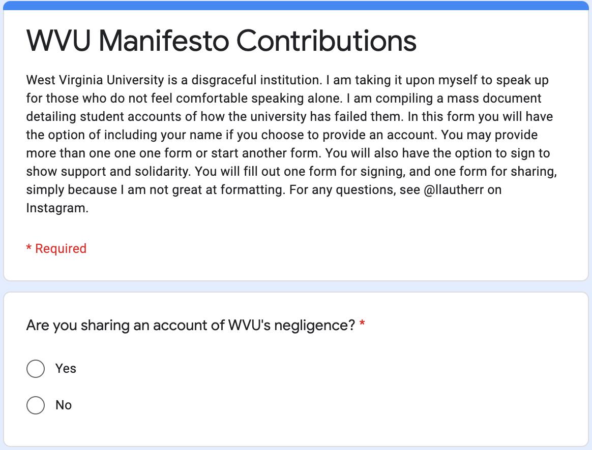 WVU Manifesto Contribution